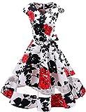 Gardenwed Damen Vintage 50er Cap Sleeves Retro Cocktailkleid Rockabilly Petticoat Faltenrock Hepburn Stil Abendkleid White Red Flower M
