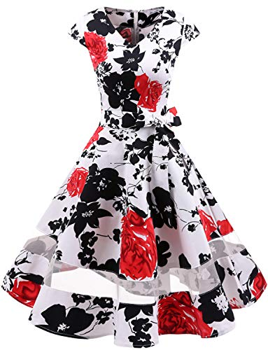Gardenwed 1950er Vintage Retro Cocktailkleid Cap Sleeves Rockabilly Kleider Damen Schwingen Petticoat Faltenrock White Red Flower XL