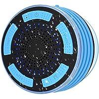 Enceinte Bluetooth Étanche Haut-parleur Douche, étanche Sans Fil Portable avec Son et Basse HD, Radio FM, Effet LED Coloré, Forte Adhérence, Appels Mains Libres pour Tous Les Périphériques Bluetooth Pour Piscine Plage Cuisine Extérieure