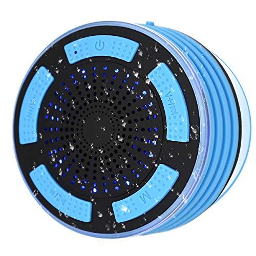 Bluetooth Dusch Lautsprecher, Wasserdichter Boxen Duschlautsprecher mit FM Radio Tragbarer Wireless Duschradio Badradio mit Freisprecheinrichtung, Super Bass und HD Sound