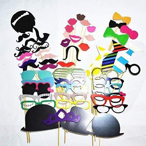 [Accessoires de Déguisements] Ohuhu 58pcs Photomatons Props kit de DIY pour l'Anniversaire ,le Mariage ,le Noël Favor & Party Supplies, Dress-up Accessoires, Costumes avec Moustache, des Lunettes, etc.