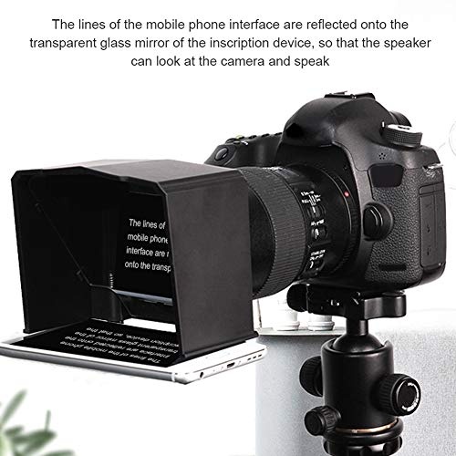 FADDR Teleprompter Kit mit Elite Remote Adapter Ring für Interview-Speech-TV-Show, kompatibel mit DSLR-Kamera-Handy unter 6 Zoll(schwarz) Teleprompter-kit