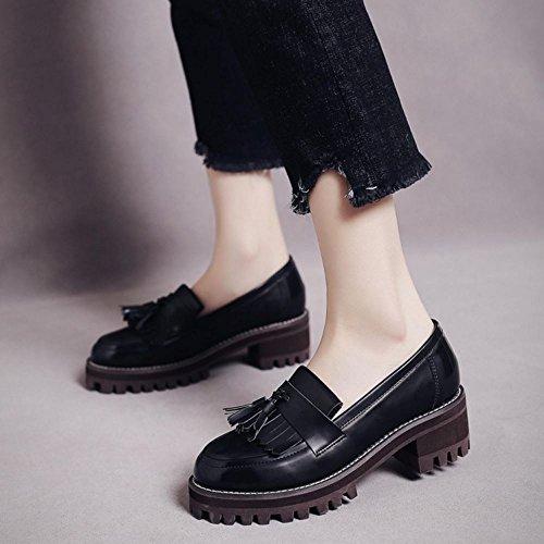 COOLCEPT Damen Mode-Event Slip On Schuhe mit Absatz Geschlossene Pumps Gladiator Schuhe mit Fransen Schwarz