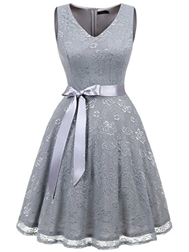 IVNIS RS90025 Damen Ärmellos Vintage Spitzen Abendkleider Cocktail Party Floral Kleid Grey2 M