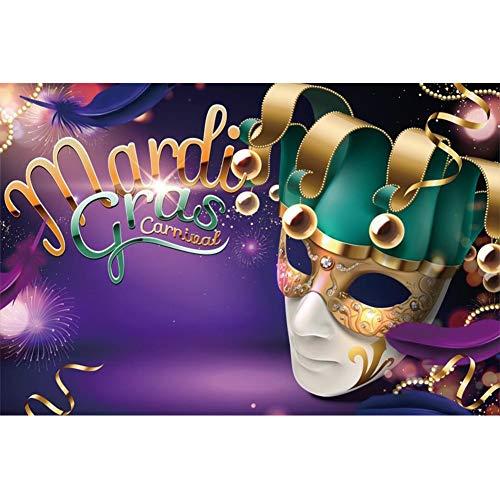 OERJU 1,5x1,2m Karneval Maske Hintergrund Mardi Gras Karneval Grüne Clownmaske Feuerwerk Dionysia Hintergrund Karnevalsparty Kinder Erwachsene Wand Dekoration Banner Porträts Fotografie