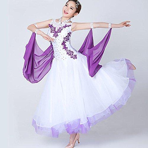 Frauen Moderne Wettbewerb Tanz Kleid Ärmellos Applikationen Ballroom Tanzen Kleider Waltz Tanz Kostüm, s, White (Applikationen Für Tanz Kostüm)