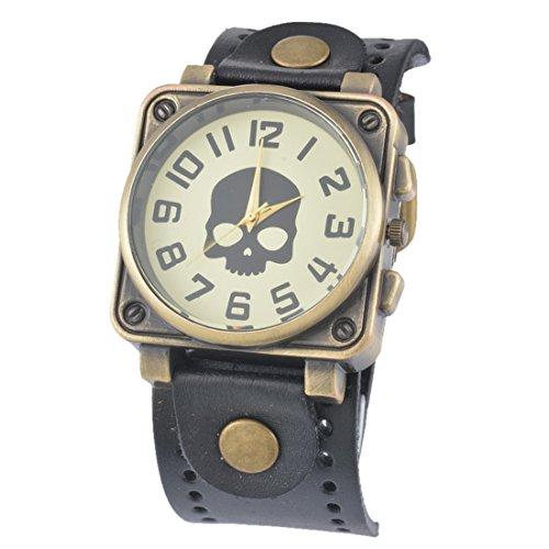 Homim Unisex Armbanduhr Quarzuhr Schwarz PU Leder Armband Eckig Totenkopf Muster Ziffer Zifferblatt Dornschließe Damen Herren Analog Uhr mit Batterie