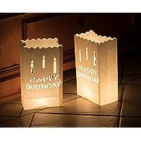 10 x Lichttüten feuerfeste Papiertüten für Teelichter Kerzen (Happy Birthday)