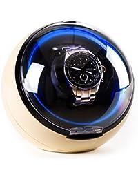Klarstein St.Gallen Caja para Relojes (Capacidad para un Reloj, Compacto, 4 programas de Rotación, Motor silencioso, Iluminación LED Azul) - Crema