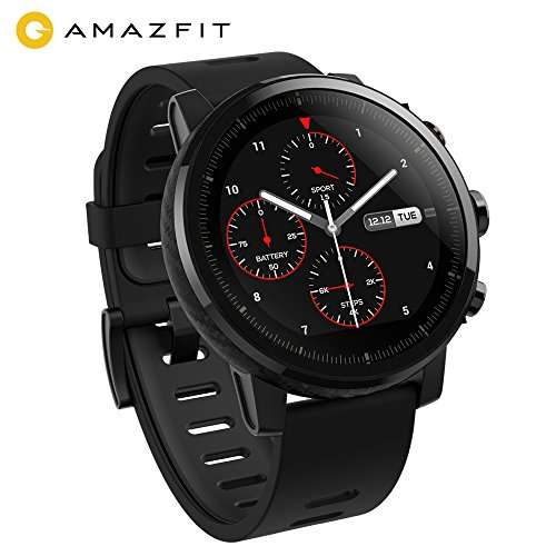 AMAZFIT Stratos Smartwatch, Huami sports watch with GPS, waterproof, analysis fitness level VO2max, heart rate sensor, touch screen, Notifications, It works with iOS and Android