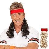 80er Vokuhila Stirnband rotes Haarband mit Haarteil schwarz Proll Klapsband Prolet Haarteil Sportler Frisur Kostüm Zubehör Mottoparty Accessoire