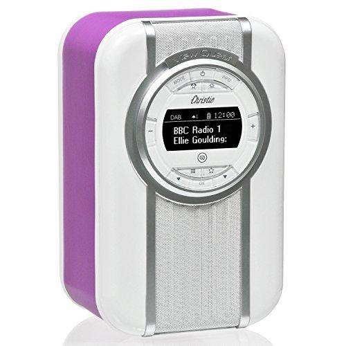 VQ Christie DAB/DAB+ Digital- und FM-Radio mit Bluetooth/NFC, Weckfunktion, drehbarem Display und Emaille-Blende - Leuchtende Orchidee Docking Digital Music System