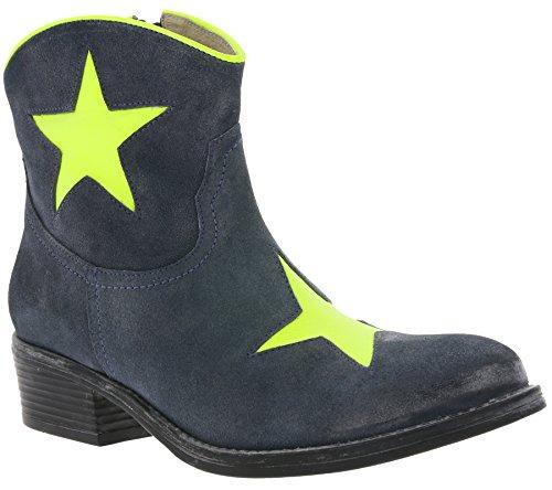 XYXYX Boots Echtleder Cowboy Stiefelette Damen Stiefel Blau, Größenauswahl:37
