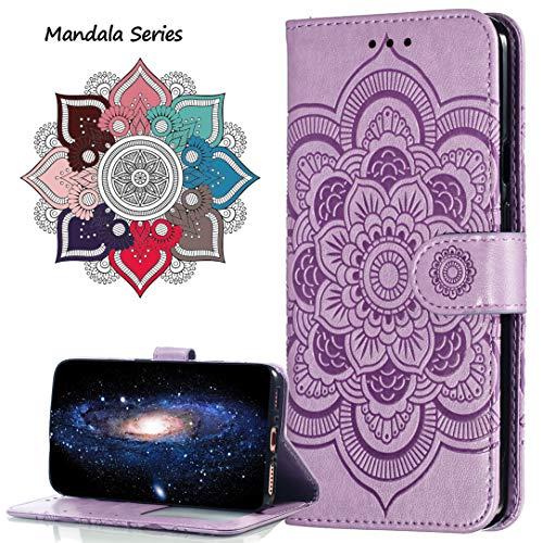 MRSTER Funda para Xiaomi Redmi Note 6 Pro, Estampado Mandala Libro de Cuero Billetera Carcasa, PU Leather Flip Folio Case Compatible con Xiaomi Redmi Note 6 Pro. LD Mandala Purple