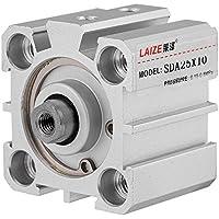SDA25-10 - Cilindro de aire neumático (25 mm, diámetro de 10 mm, doble accionamiento de aluminio, varilla de pistón atornillada)