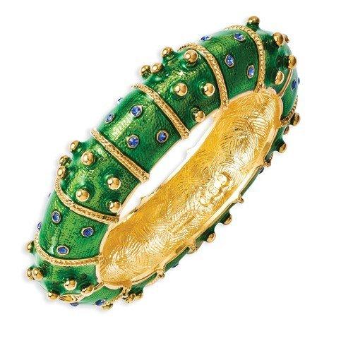 Kennedy Bracelet jonc plaqué or Swarovski Element Cristal émail vert environ 1à large Longueur Options: 18-20