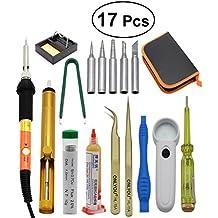 UKCOCO Kit de soldador de 17 piezas con temperatura ajustable de 60W Soldador de soldadura de