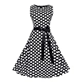 Damen Dot Printed Vintage Cocktailkleid Prinzessin Bandage Party A-Linie Kleid