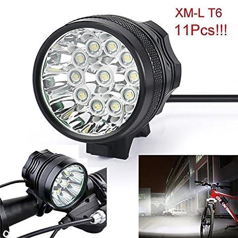 Lampe de vélo, 10principales 11x T6LED 11000lumens 3modes lampe frontale LED ultra lumineux Vélo Tête lampe de poche pour le camping chasse randonnée et activités de plein air