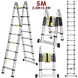 Meditool 5M Scala Alluminio,Scala Telescopica (2,5 M + 2,5 M),Scala Pieghevole,Scala Portatile,Capacità 150kg