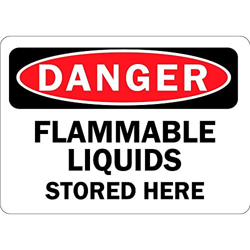 Label Decal Sticker Danger Flammable Liquids Stored Here Vinyl Durability Self Adhesive Decal Uv Protected & Weatherproof (Liquid-label Flammable)