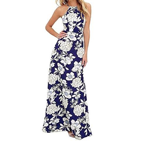 Tonsee Femmes été Vintage Floral Boho Long Maxi soirée plage robes robe bain de soleil (M, Bleu foncé)