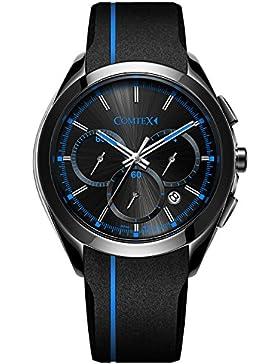 Comtex Herren Armbanduhr Chronograph Quarz mit schwarzem Silikon Band Sport Armbanduhr
