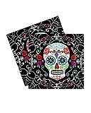 Horror-Shop Servietten Sugar Skull mit Totenkopf Motiv & Blumen | 20 St. | 33 x 33 cm
