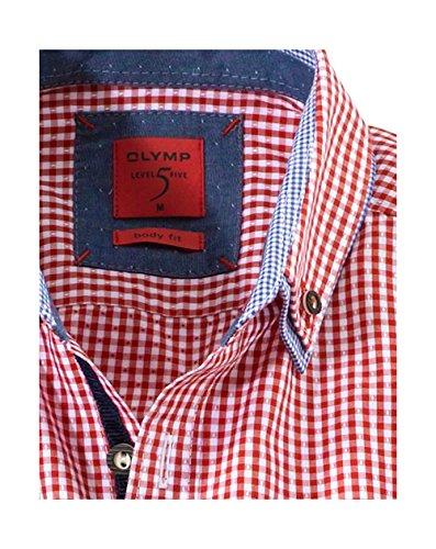 Olymp Hemd, Level five, bodyfit, casual, Trachtenhemd, rot/weiss m. Kontrast rot/weiss