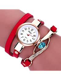 Clearance. Las mujeres de diamantes relojes Sonnena señoras mujeres wrap around pulsera analógico reloj de pulsera joyería Set, venta caliente reloj de pulsera, 2018para fiestas Club Casual relojes reloj de acero inoxidable de regalo del día de San Valentín, rojo, Watch