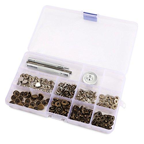 50 Set 10mm Metall Druckknöpfe Silber Altgold & 4tlg Werkzeug Locheisen Handschlageisen nähfrei Leder Kunstleder mit Aufbewahrungsbox