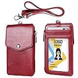 Passhülle aus Leder mit Schlüsselband, 1 transparentem Passfenster , 3 Kartenfächern mit Druckknopfverschluss, Brieftaschenausweis mit Reißverschluss, Schulkarte, Kreditkarten, Führerschein 1*Rot