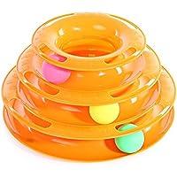 Zhuhaimei,Pet Cat Tres Capas Turntable Amusement Intelligence Ball Toy(Color:Orangepink)