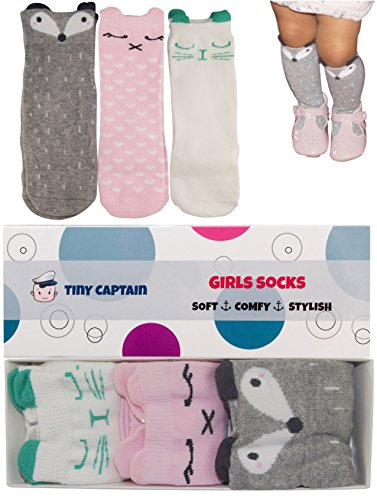 9d9e3bdaa93bd Tiny Captain Baby Girls' Knee High Long Socks Best Infant and Toddler Gifts  Anti Slip Non Skid Leg Warmer Walker