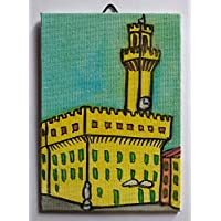 Old Palace in Florence-Canvas Panels of size inch 3.9x5.9x0.1 inch made with aquarello-MADE technique in ITALY Tuscany Lucca,certified