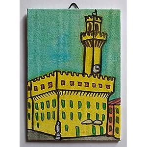 Altes Schloss in Technik Florenz-Leinwand mit Acryl Größe cm10x0,3x15cm -MADE in ITALY Toscana Lucca, Zertifikat ausgeführt
