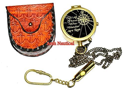 Samara - Bussola Nautica in Ottone Massiccio, con Citazione J. R. Tolkien, con Custodia in Pelle, Colore: Nero