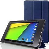 MoKo Google New Nexus 7 FHD 2nd Gen Case - Ultra Slim Lightweight Smart-shell Stand Case INDIGO (With Smart Cover Auto Wake / Sleep Feature)