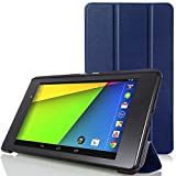 MoKo Google Nexus 7 FHD 2 Case - Ultra Sottile Leggero Supporto Custodia per Google Nexus 2 7.0 Inch 2013 Gen Android 4.3 Tablet, INDACO (Con Smart Cover Auto Sveglia / Sonno)