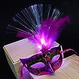 MáScaras Venecianas Mujer, Zolimx Mujeres Calientes Venecianas de Fibra LED Máscara de Disfraces Fiesta Princesa Plumas Máscaras (Rosa Caliente)