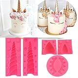 lilyshopingstore Einhorn 3d-Silikon-Kuchen, Süßigkeiten-Form, mit Ohren und Augen, Wimpern-Fondant-Kuchen Sugarcraft Back Cupcake-Dekoration DIY Werkzeug-Set mit 5Stück