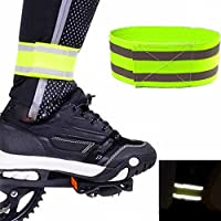 Yiwa 1pc banda reflectante de alta visibilidad, equipo de seguridad para correr, andar en bicicleta, caminar perros, correr bandas de tobillo elásticas brazaletes brazaletes con cierre de cinta mágica
