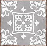 LPS Lot de 10 Autocollants Style 1 Gris Victorien marocain rétro Traditionnel Style mosaïque Style mosaïque Transfert de Stickers Salle de Bain Cuisine bâton sur carrelage Mural