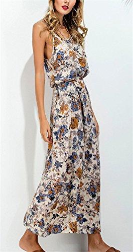 Ghope Damen Modern Boho Blumen Muster Lange Kleid Schleuder Sommer Urlaub Strandkleider Weiß