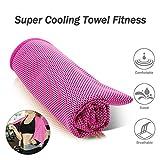 WAWJ Mikrofaser Sport & Reisehandtuch Kühlung Handtücher 100*31 cm Cooling Towel zum Yoga, Fitness, Strand, Schwimmen, Camping (Rose Rot)
