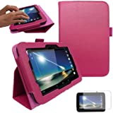 "TECHGEAR Tesco Hudl 7"" Premium PU Leather Folio Case Cover with Stand + Complimentary Screen Protector & Screen Cleaning Cloth [PINK]"