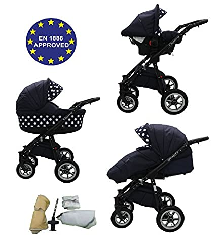 Quero, 3-in-1 Travel System with Baby Pram, Car Seat, Pushchair & Accessories (Black & Black with Polka Dots No. 8)