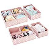 mDesign 4er-Set Aufbewahrungsboxen für das Kinderzimmer, Bad usw. – Kinderzimmer Aufbewahrungsbox mit vier Fächern plus einem Fach – Kinderschrank Organizer aus Kunstfaser – rosa/weiß