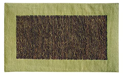 Platinum Collection - Carpet of modern design Geo 100x180 green - Hand Made With Leather Stripes Interwoven