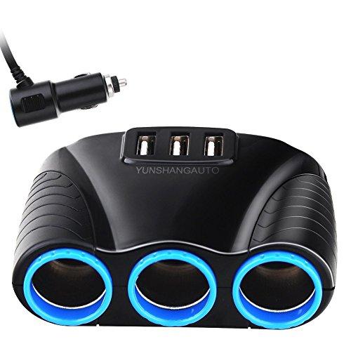Cargador Adaptador, Yunshangauto® Cargador de coche de 3 zócalo de mechero USB Adaptador de corriente DC de salida del divisor 3.1A 2-Port